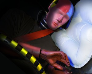 A test dummy is shown after RollTek, a side roll airbag protection system, deployed.